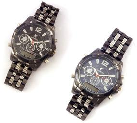 Relógio De Metal Masculino Cores Potenzia Preto E Azul