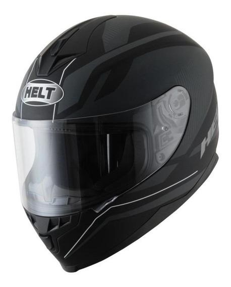 Capacete para moto integral Helt Street New Race Preto Fosco XL