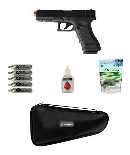 Pistola Airsoft Co2 Glock G17 Blowback + Acessórios + Capa