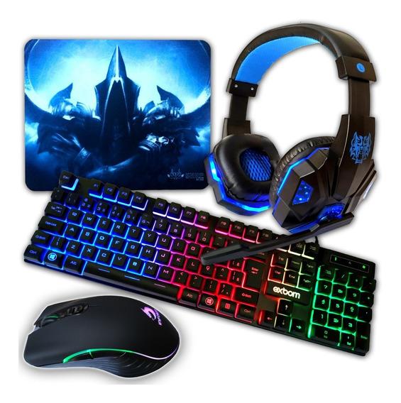 Kit Gamer: Teclado Mouse 7 Botões 6400 Dpi E Head Set Gamer