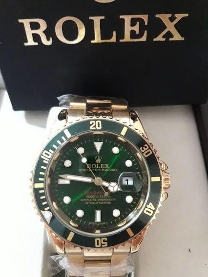 Relógio Masculino Rolex A Prova Dágua Dourado Com Verde