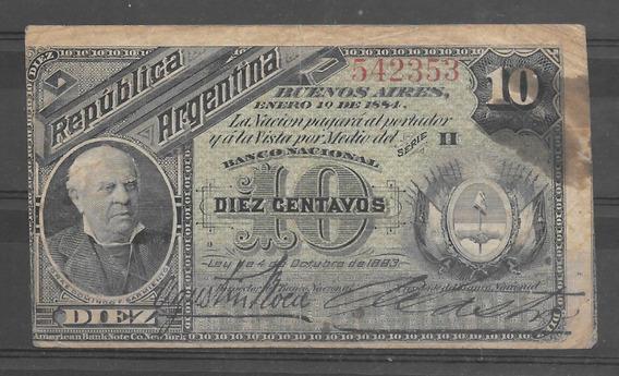 Argentina Billete De 10 Cvs 1884 Sarmiento Excelente !