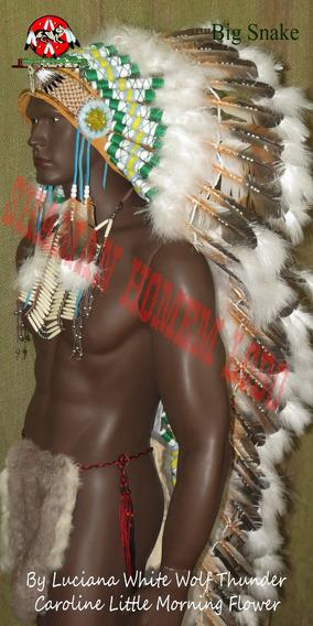 Cocar Indigena Longo Nativo Americano Xamanismo Umbanda Xamã