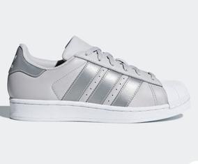 adidas Super Star Gris/bco Originales Dama Cq2689