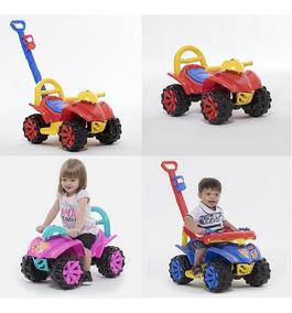 Quadriciclo Infantil Carrinho De Passeio Com Puxador Azul