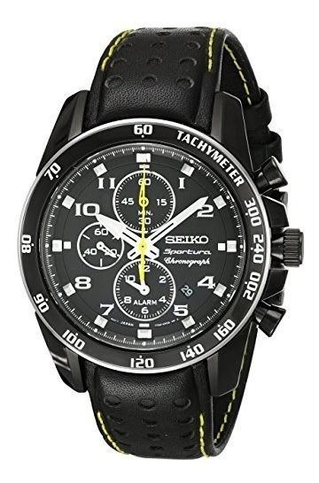 Reloj Seiko Sportura Snae67 Negro Piel Zafiro Buen Estado