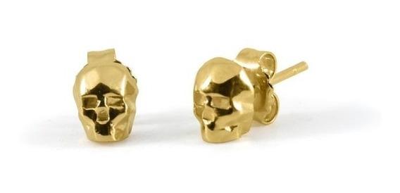 Aretes Calavera Skull En Plata Con Acabado En Oro