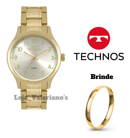 Relogio Technos Feminino Dourado Pequeno Numeros 2035mpf/4k