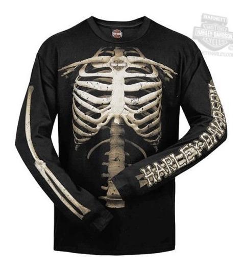Harley Davidson Camiseta Manga Longa Skeleton Bones Original