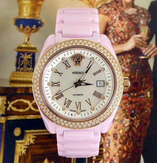 Reloj Cerámica Rosa Diamantes Versace Original.