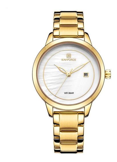 Relógio Feminino Dourado Naviforce Casual Fashion