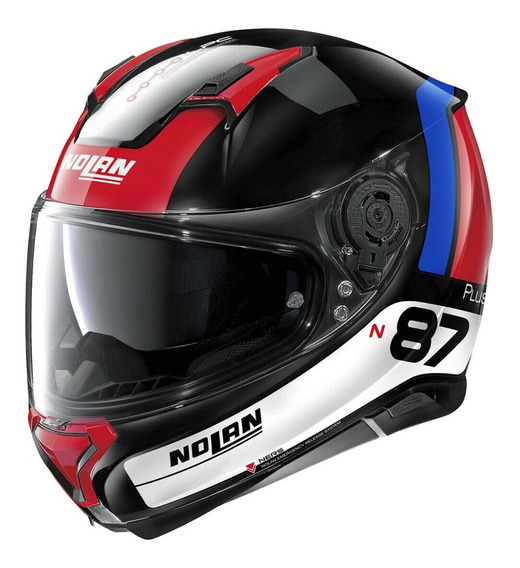 Casco Nolan N87 Plus Distinctive N-com 28 Bco / Azul / Rojo