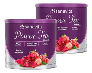 Kit 2x Power Tea Hibiscus 200g Frutas Vermelhas Sanavita