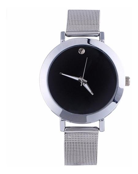 Relógio De Pulso Clássico Para Mulher Prata Com Preto Strass