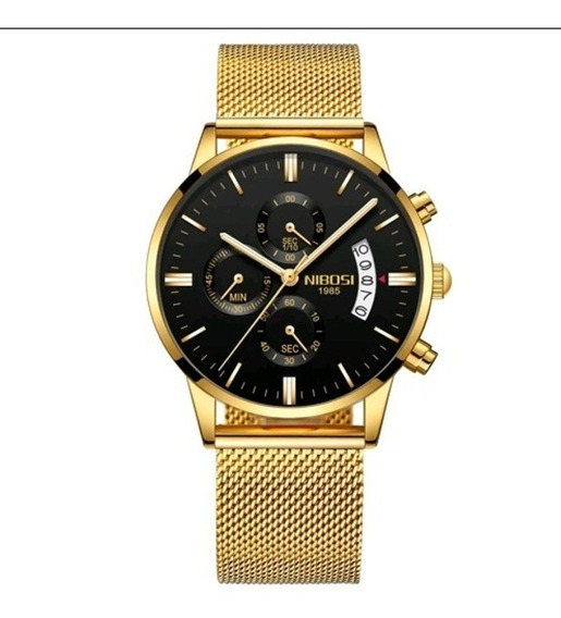 Relógio Masculino Nibosi Dourado Aço 100% Funcional