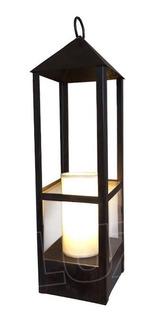 Lámpara De Mesa Farol Mediano C/pant. Tela - Hierro Óxido