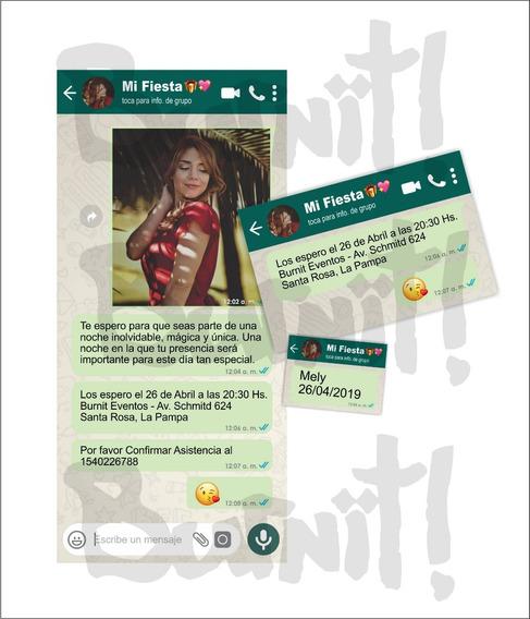 Tarjetas Invitaciones Whatsapp Original 15 Años 72 Unidades