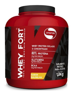 Whey Protein Premium Whey Fort Vitafor 1,8kg Sabor Baunilha