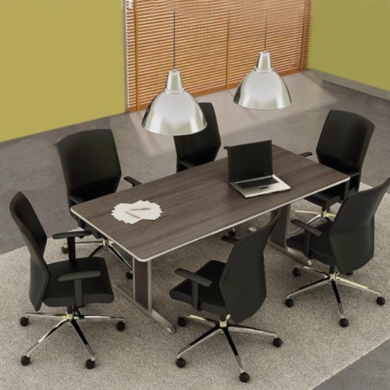 Kit Sala De Reunião - Conjunto Mesa + 6 Cadeiras - Oferta