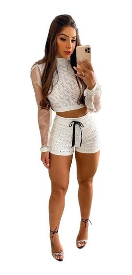 Conjunto Short Com Blusa Moletom Moda Blogueira