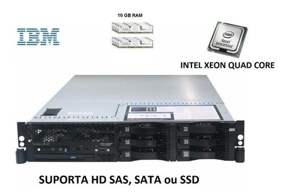 Servidor Ibm X3650 Xeon Quad-core + 16gb Ram + Ssd + Trilho