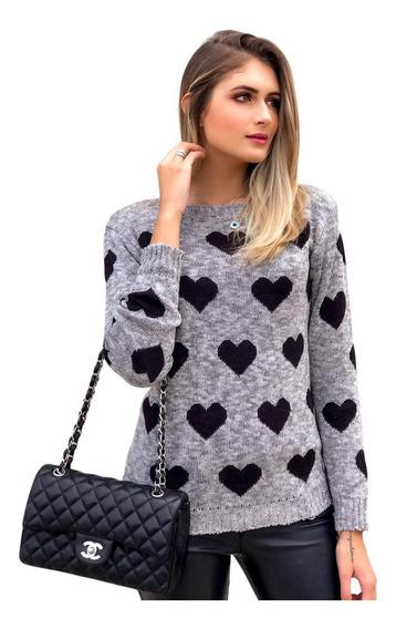 Blusa De Trico Tricot Feminina Corações Inverno Frio Malha