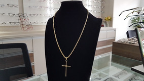 Colar Corrente Feminina Cordão Baiano Crucifixo - 6708