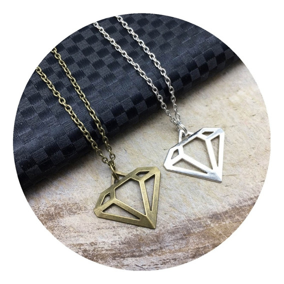 Collar Diamante Dije Diamante Collar Minerales Regalo Para Pareja Novia Novio Amor Collar Moda Dije Bisutería Fantasía