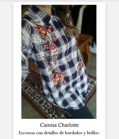 Camisa Charlotte Escosesa Con Bordado Y Canutillos