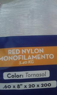 Red De Pesca Malla Monofilamen Cal0.60 Luz 8 Caida 20x200m
