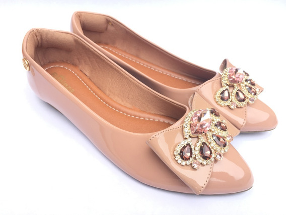 Sapatilhas Bico Fino Pedraria Luxo Calçado Feminino Enfeite