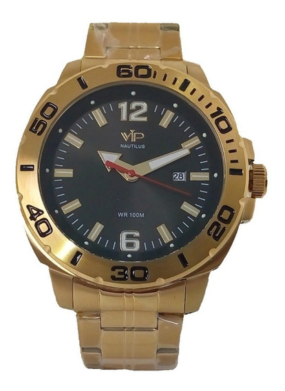 Relógio Masculino Vip Mh6331 Dourado Original Prova Dágua