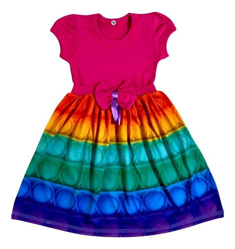Imagem 1 de 3 de Vestido Pop It Fidget Colorido Arco Iris Infantil Fab1