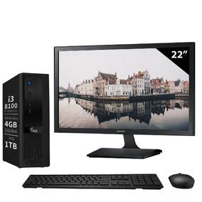 Computador Intel Core I3 8100 8a 4gb 1tb Monitor 22 3green