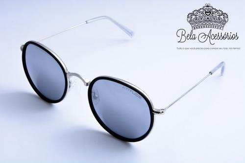 22b65e68c oculos sol atitude redondo espelhado prata metal original. Carregando zoom.