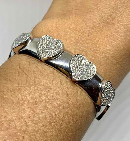 Glitter Joias - Bracelete Pulseira Coração Ouro E Diamantes