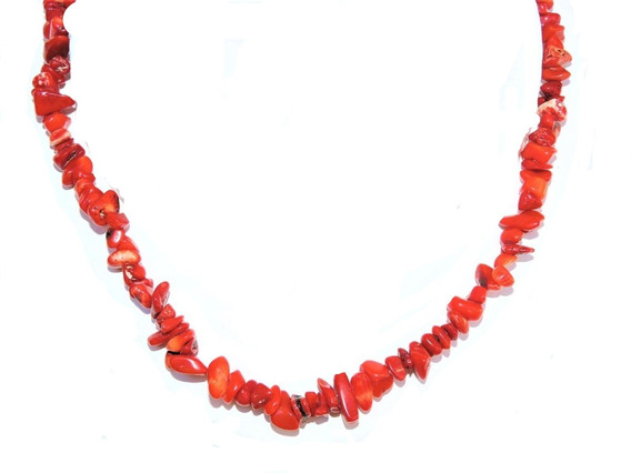 Collar Piedra Original Coral 43 Cm