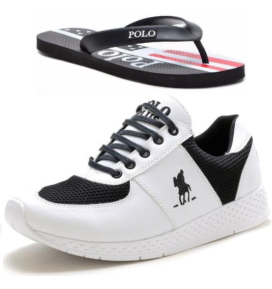 Tênis Masculino Polo Plus Jogging Original +chinelo Promoção