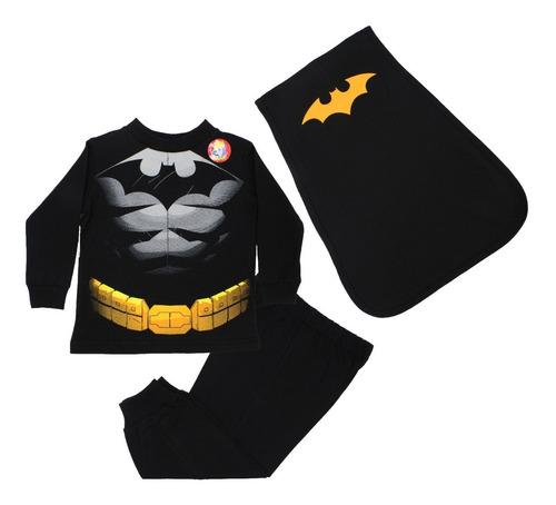 Pijama Batman Músculos 3 Pzs Sudadera Pants Capa Disfraz