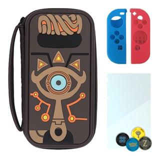 Switch Funda Zelda Botw + Cristal + Joycon + Grips   Estuche Case Sheikah Master Edition   Solo Switch «normal», No Lite