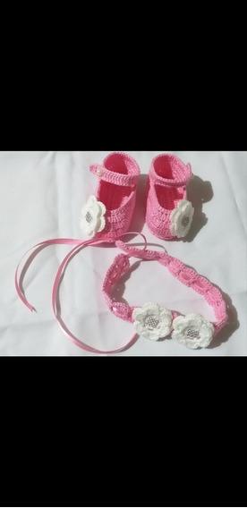 Sapatinho D Croche+tiara Para Bebês Até 5 Meses