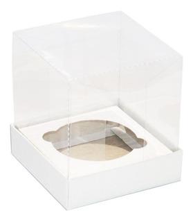 50 Caixas Acetato Para 1 Cupcake Mini Bolo Branca 9,5x9,5x10