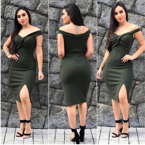 Vestido Midi Ombro A Ombro Festas Eventos Moda 2019 Com Fenda Vestido Moda Feminina Moda Vferão