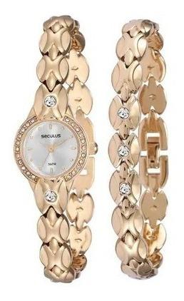 Relógio Feminino Seculus Dourado Com Pedras