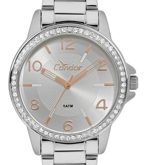 Relógio Condor Feminino Prata + Kit