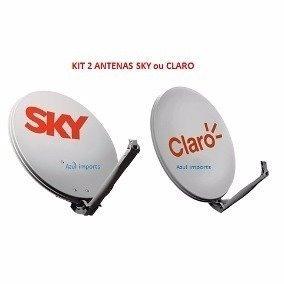 2 Antenas 60cm Ku Com Logo Marca Sky Frete Gratis