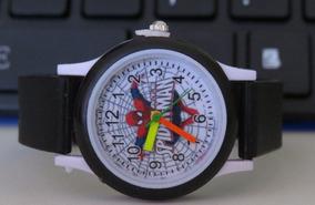 Relógio Do Homem Aranha Preto Lindo Meninos Mega Oferta C305
