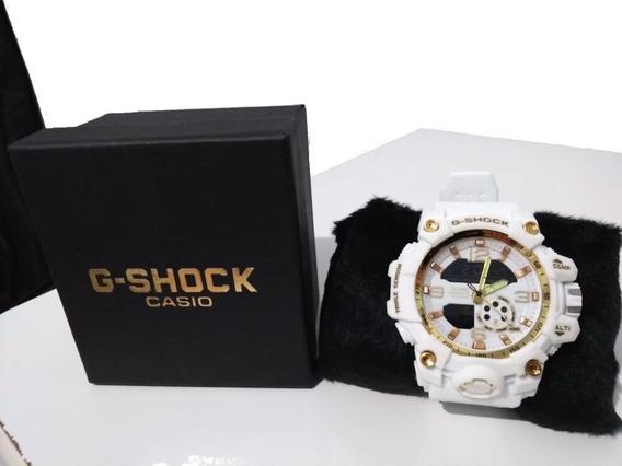 Relógio Masculino Esportivo Gs Branco Digital Analógico Resistente Água Envio Já