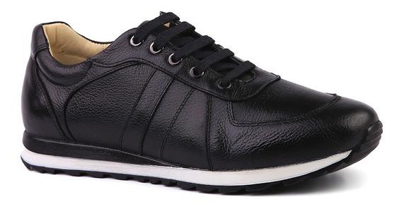Sapatênis Masculino 4061 Em Couro Floater Preto Doctor Shoes