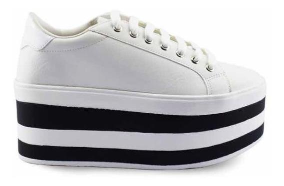Zapatillas Plataforma Mujer Rayadas Blanco Y Negro Antia